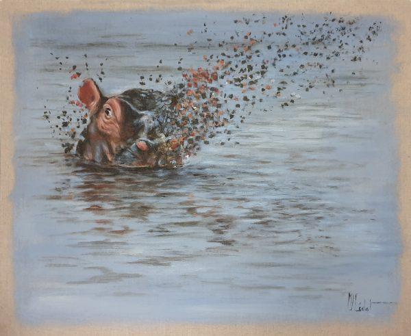 Hippopotame - Acrylique sur lin brut - 40 x 40 cm - Marie-Joëlle Cédat artiste animalier peinture animalière peintre animalier