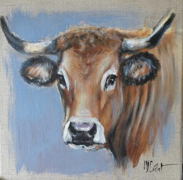 Vache aubrac Acrylique sur lin brut - 40 x 40 cm - Marie-Joëlle Cédat artiste animalier peinture animalière peintre animalier