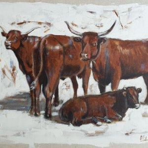 Quatre Salers- Acrylique sur lin brut – 73 x 60 cm